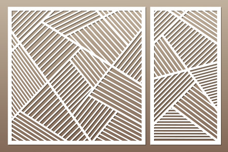 Illustration pour Set decorative card for cutting. Geometric line pattern. Laser cut vector illustration. - image libre de droit