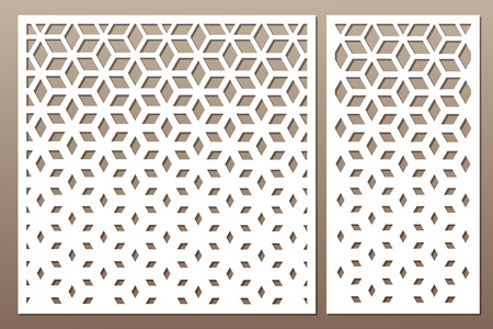 Ilustración de Set decorative card for cutting. Square pattern. Laser cut. Ratio 1:1, 1:2. Vector illustration. - Imagen libre de derechos