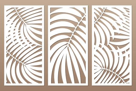 Illustration pour Set decorative card for cutting. Leaves foliage palms fern  pattern. Laser cut. Ratio 1:2. Vector illustration. - image libre de droit
