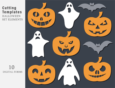 Illustration pour Garland Halloween. The laser cutting. Festive decoration for walls and Windows. Vector illustration. - image libre de droit