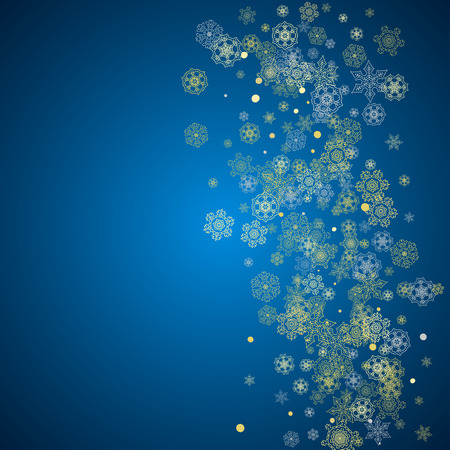 Illustration pour New Year frame with gold snowflakes on blue background. Winter window. Christmas and New Year frame for gift certificate, ads, banner, flyer, sales offers, event invitations. Glitter snow with sparkle - image libre de droit