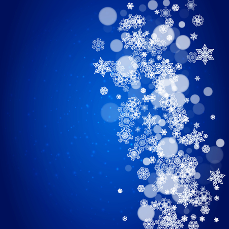 Illustration pour New Year snowflakes on blue background with sparkles. Winter theme. Christmas and New Year snowflakes falling. For season sales, special offer, banners, cards, party invites, flyers. White frosty snow - image libre de droit