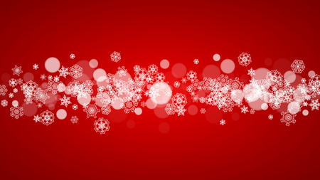 Illustration pour Christmas background with white snowflakes on red background. Santa Claus colors. New Year and Christmas background for party invitation, banner, gift card, retail offer. Horizontal winter backdrop - image libre de droit