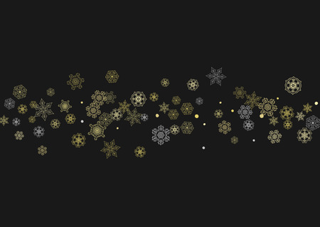 Illustration pour Glitter snowflakes frame on black horizontal background. Shiny Christmas and New Year frame for gift certificate, ads, banners, flyers. Falling snow with golden glitter snowflakes for party invite - image libre de droit