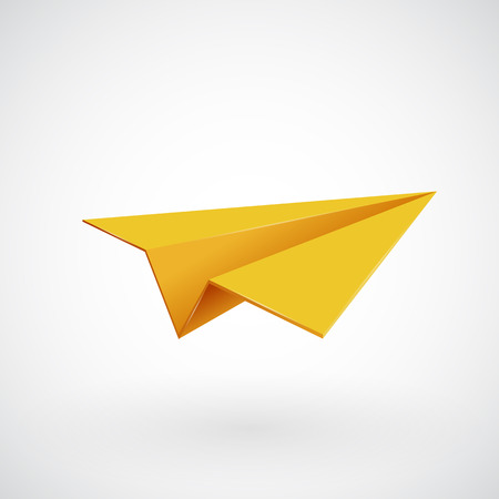Illustration pour Yellow paper airplane. Isolated on white. Vector illsutration - image libre de droit