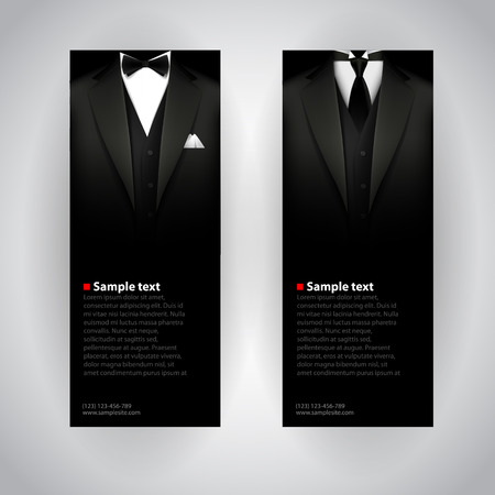 Ilustración de Vector business cards with elegant suit and tuxedo. - Imagen libre de derechos