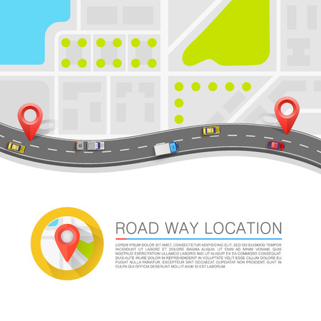 Ilustración de Paved path on the road art. Vector background - Imagen libre de derechos