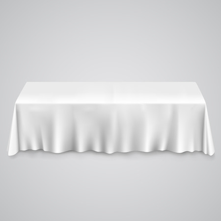 Ilustración de Table with tablecloth white. illustration art 10eps - Imagen libre de derechos