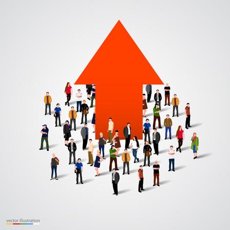 Illustration pour Growth chart and progress in people crowd. Vector illustration - image libre de droit
