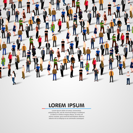 Illustrazione per Large group of people on white background. Vector background - Immagini Royalty Free