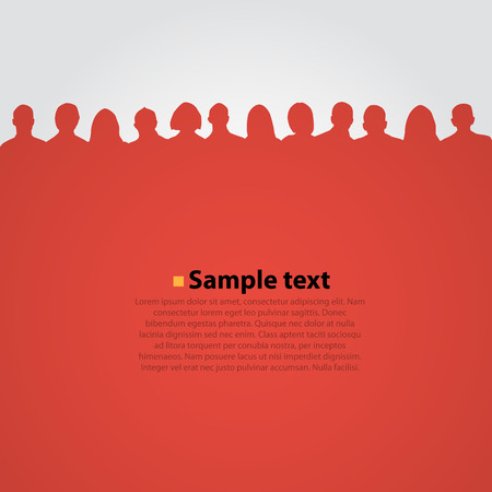 Foto de People heads silhouette red background.. Vector illustration - Imagen libre de derechos