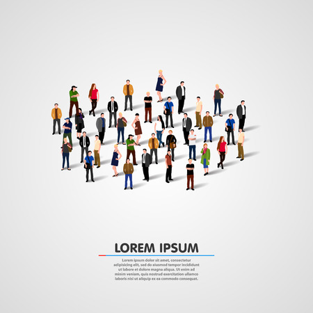 Illustrazione per Template for advertising brochure with people crowd. Vector illustration - Immagini Royalty Free