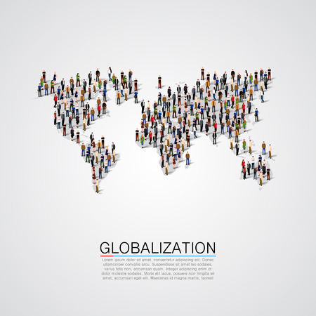 Illustrazione per Group of people making a earth planet shape. Vector illustration - Immagini Royalty Free