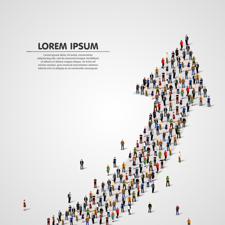 Illustrazione per Large group of people in the shape of an arrow. Vector illustration - Immagini Royalty Free