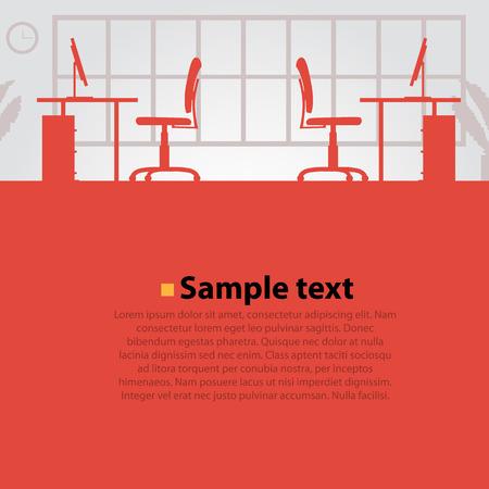 Illustration pour Office workplace vector bright background. Vector illustration - image libre de droit