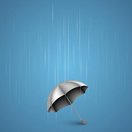 Umbrella with heavy rain art. Vector illustration