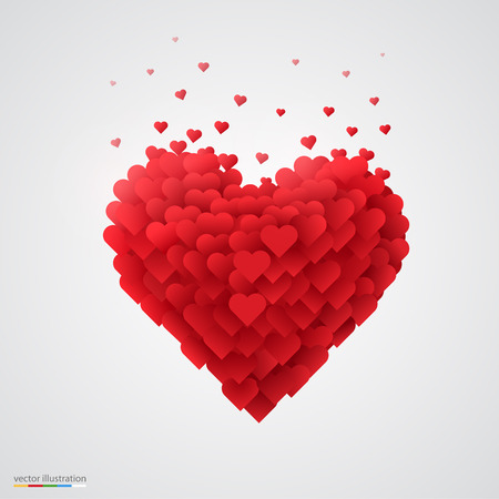 Valentines red heart. Beautiful and clean vector illustration.