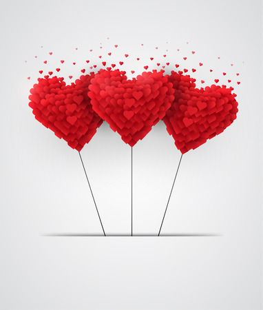 Illustration pour Valentines day heart balloons on white background - image libre de droit