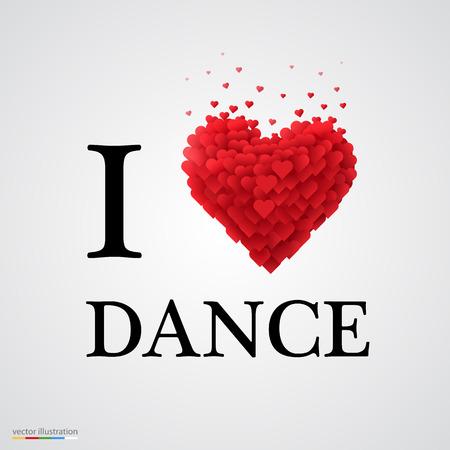 Illustration pour i love dance, font type with heart sign. - image libre de droit