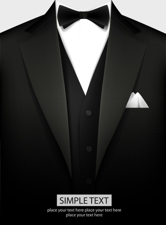 Ilustración de Elegant black tuxedo with bow. Vector illustration - Imagen libre de derechos