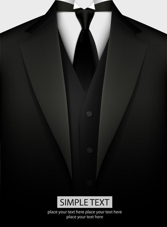 Illustrazione per Elegant black tuxedo with tie. Vector illustration - Immagini Royalty Free