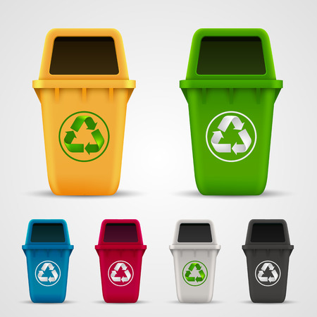 Illustration pour Ecological trash set art color. Vector illustration - image libre de droit