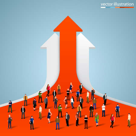 Illustration for People crowd on the graph. Vector illustration - Royalty Free Image