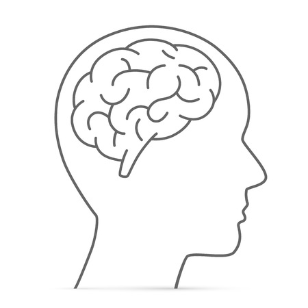 Illustration pour Silhouette head with the brain. Vector illustration - image libre de droit
