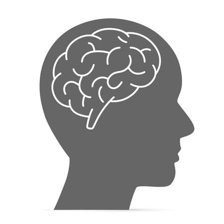 Ilustración de Silhouette head with the brain. Vector illustration - Imagen libre de derechos
