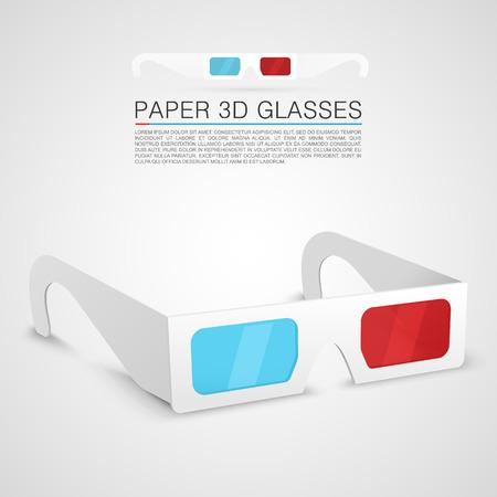 Illustration pour Paper 3d glasses art object - image libre de droit