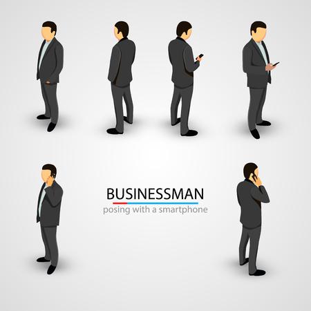 Illustration pour Businessman in various poses with mobile phone. Vector illustration - image libre de droit