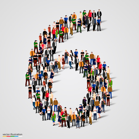 Photo pour Large group of people in number 6 six form. Vector illustration - image libre de droit