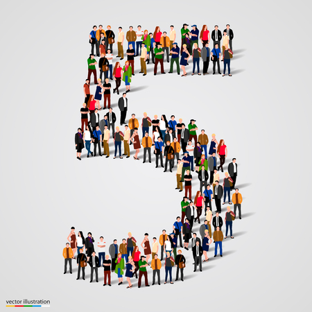 Photo pour Large group of people in number 5 five form. Vector illustration - image libre de droit