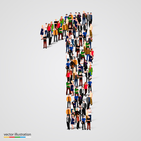 Ilustración de Large group of people in number 1 one form. Vector illustration - Imagen libre de derechos