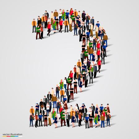 Ilustración de Large group of people in number 2 two form. Vector illustration - Imagen libre de derechos