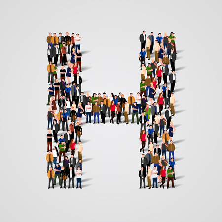 Photo pour Large group of people in letter H form. Vector seamless background - image libre de droit