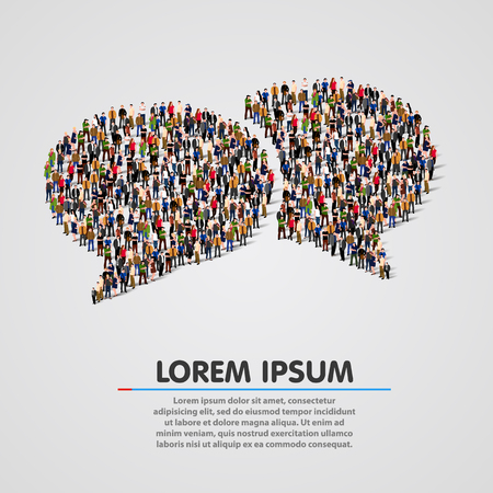 Photo pour Large group of people in the chat bubbles shape. Vector illustration - image libre de droit