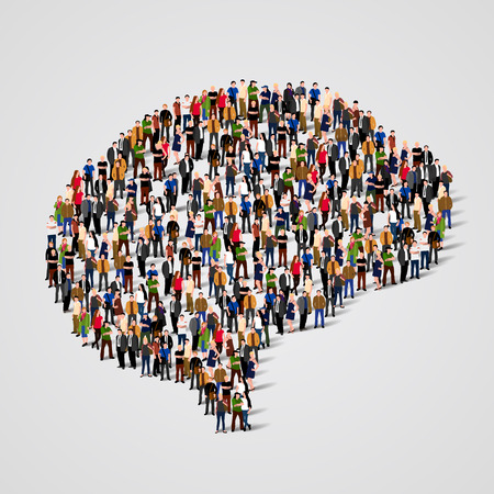 Illustrazione per Large group of people in the shape of brain sign. Vector illustration - Immagini Royalty Free
