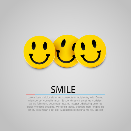 Illustration pour Modern yellow laughing three smiles. Vector illustration - image libre de droit