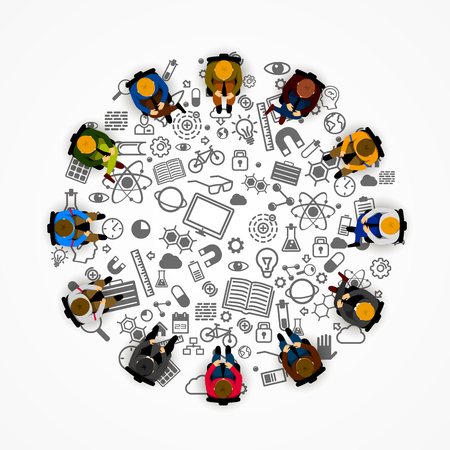 Illustration pour People sitting in a circle. Vector illustration - image libre de droit