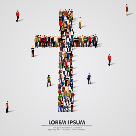 Illustration for Large group of people in the shape of cross. Vector illustration - Royalty Free Image