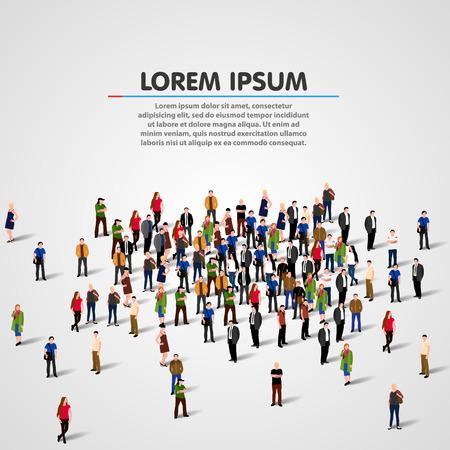 Illustration pour Big people crowd on white background. Vector illustration. - image libre de droit