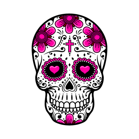 Illustration for Day Of The Dead Skull. Skull sugar flower. Skull tattoo. Vector illustration - Royalty Free Image