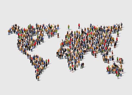 Photo pour Group of people in form of world map. Globalization, population, social concept. - image libre de droit