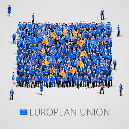 Illustration pour Large group of people in the shape of European union flag. Europe. - image libre de droit