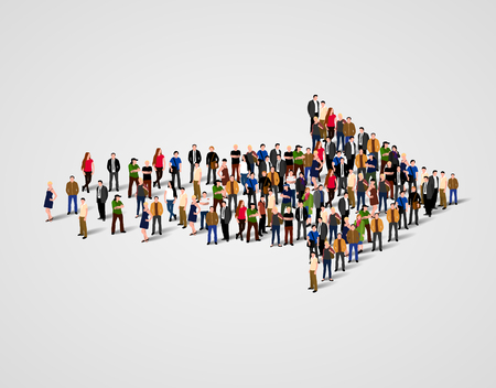 Foto per Large group of people crowded in arrow symbol. Way to success business concept. - Immagine Royalty Free