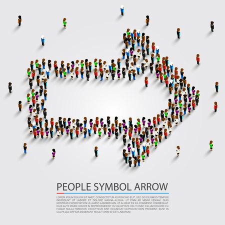 People arrow isometric, Arrow group sign, Vector illustration.