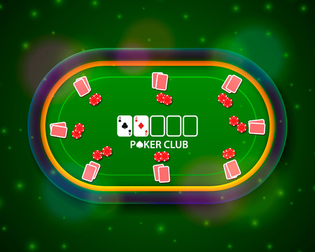 Illustration pour Poker table with the cards and chips on a green illustration. - image libre de droit