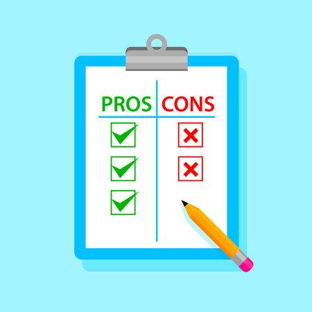 Photo pour Pros and cons tablet with pencil. - image libre de droit