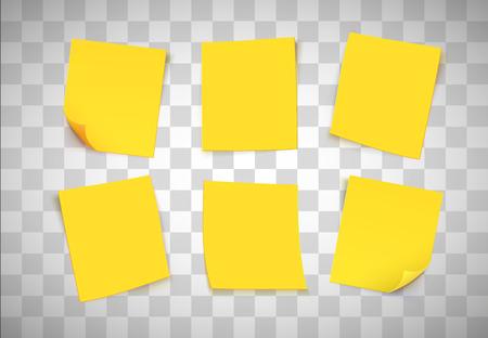 Illustration pour Yellow paper notes on transparent background. Post it note. Vector illustration - image libre de droit